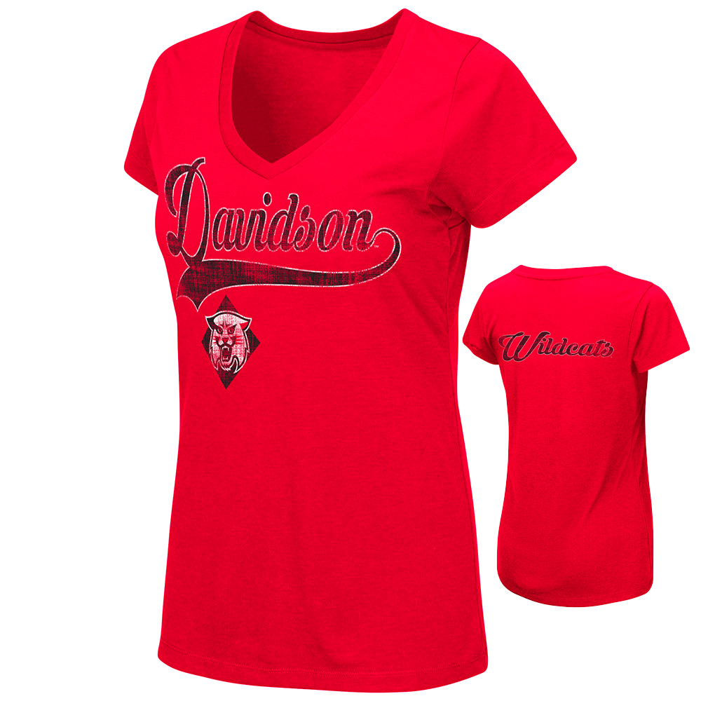 Women's Red V Neck T Shirt