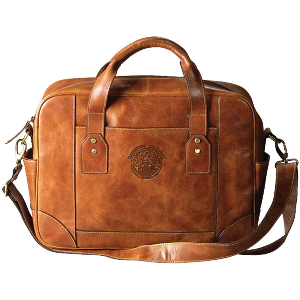 Image For Leather Business Case - Tan - College Seal Logo