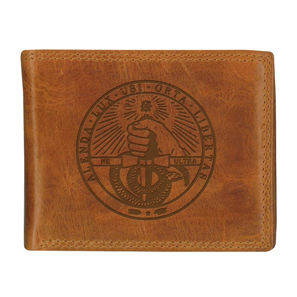 Image For Westbridge Wallet Tan Bi Fold With College Seal