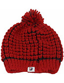 Image For Hat Knit Beanie Red Waffle With D
