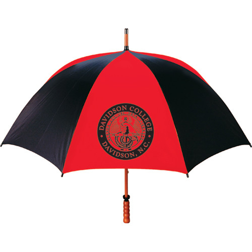 Image For Large Red & Black Stripe Umbrella With College Seal