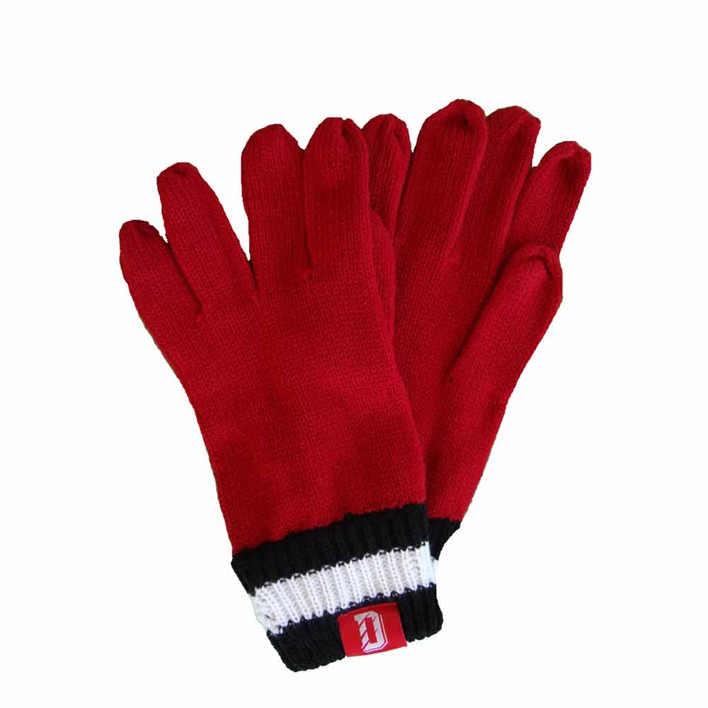 Image For Gloves Knit Red With D