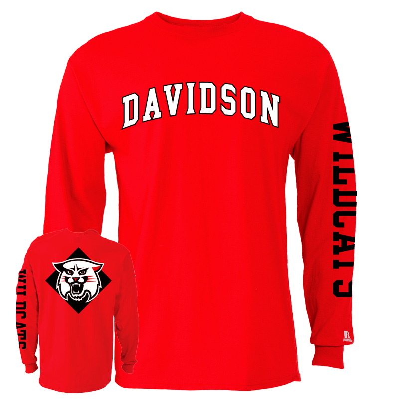 Image For Long Sleeve T Shirt Red-Wildcat On Back