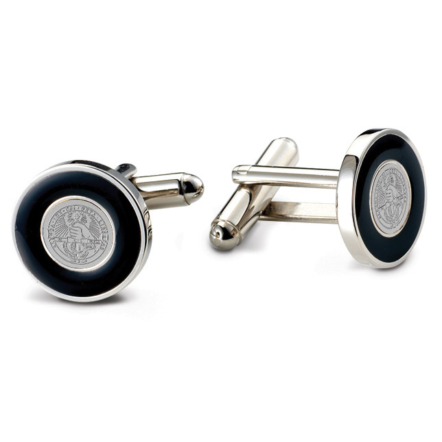 Image For Cufflinks Silver Tone With Black Enamel