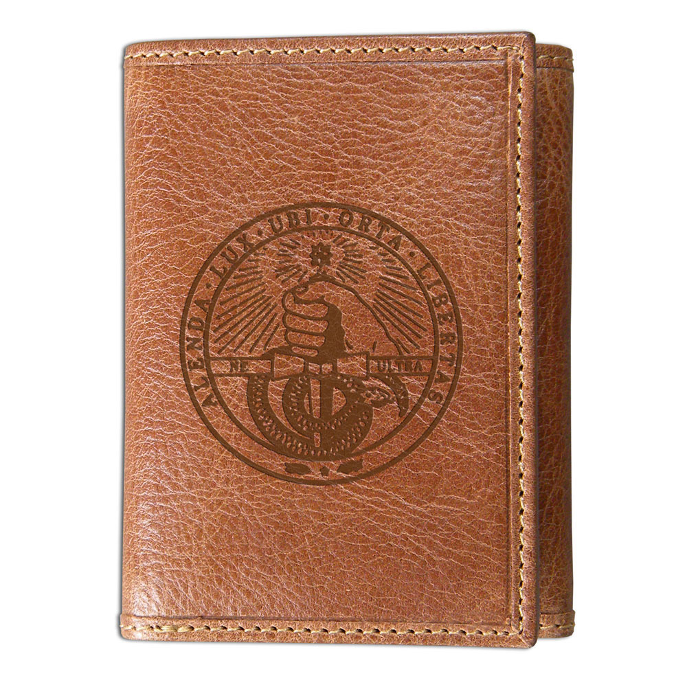 Image For Westbridge Wallet Tan Tri Fold With College Seal
