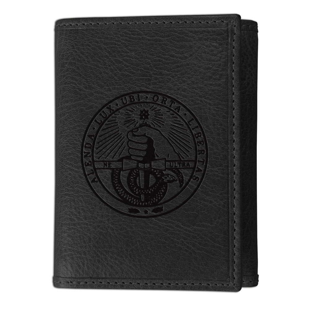 Image For Westbridge Wallet Black Tri Fold With College Seal