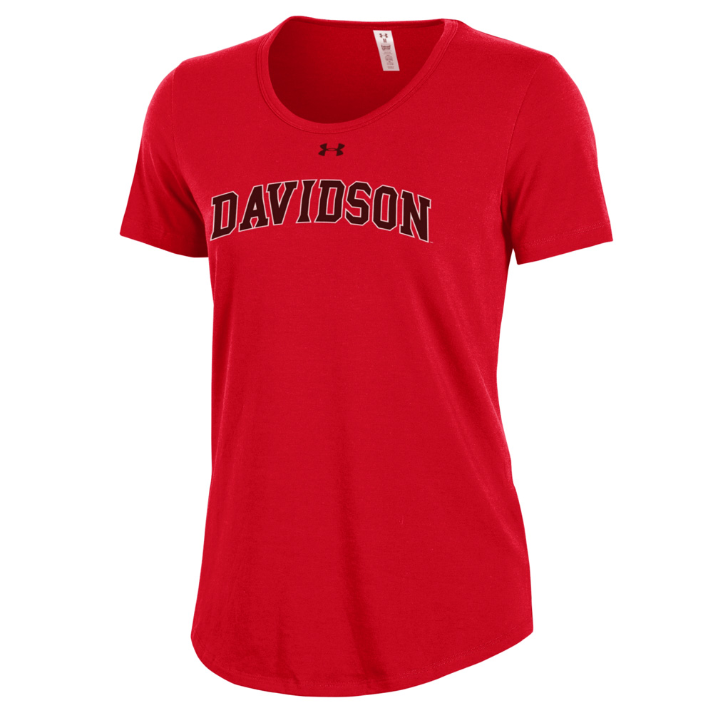 Image For Women's Red T Shirt-Davidson Arched