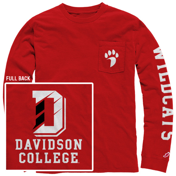 Image For Long Sleeve T Shirt Red With Pocket-D Logo On Back