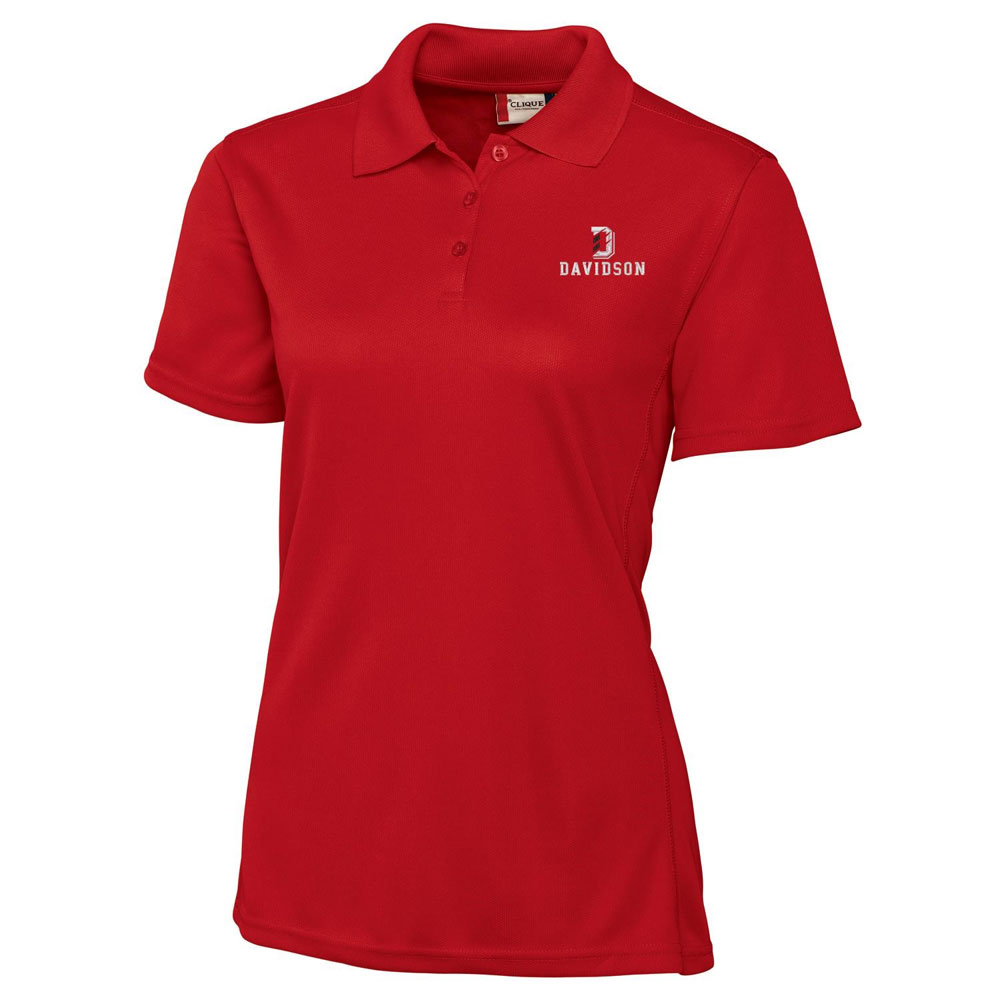 Image For WOMEN'S PIQUE POLO - RED - D OVER DAVIDSON