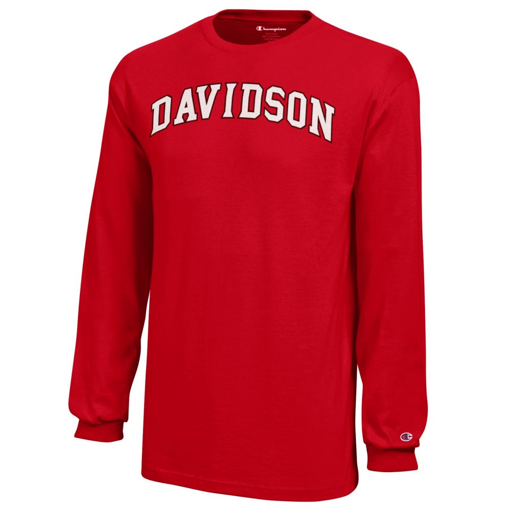 Image For Youth Long Sleeve T Shirt - Red - Davidson Arched