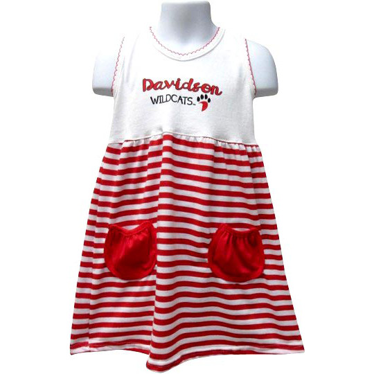 Image For Infant Girls Red & White Stripes Dress & Pockets