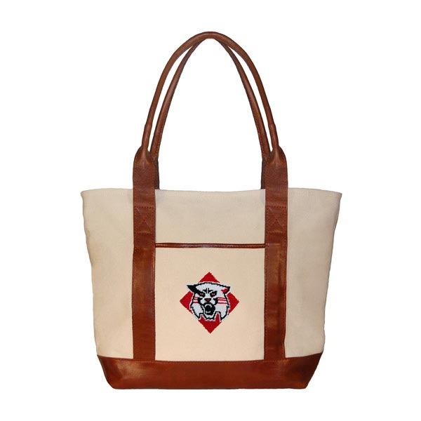 Image For Davidson Needlepoint Tote Bag With Wildcat Logo
