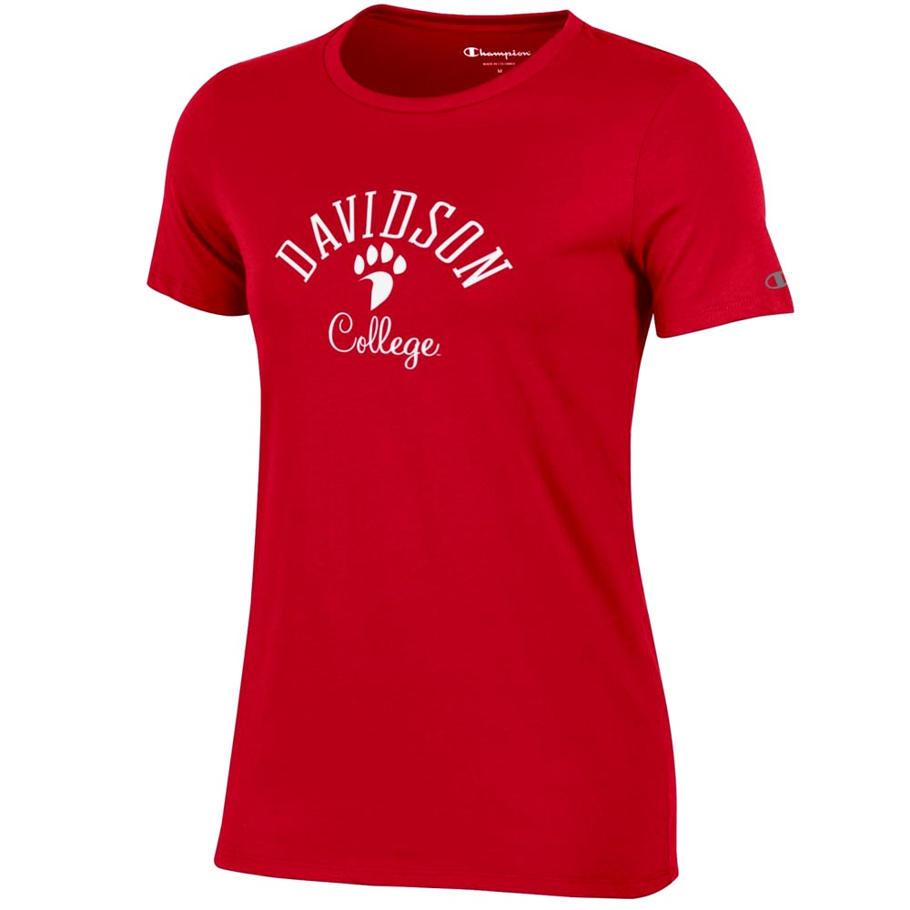 Image For Women's T Shirt - Red - Davidson Over Paw