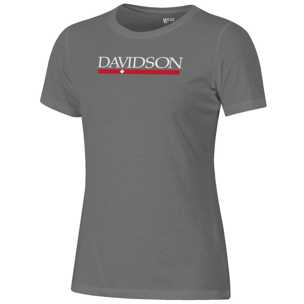 Image For Women's Charcoal Heather Relaxed Tee-Davidson Bar Diamond