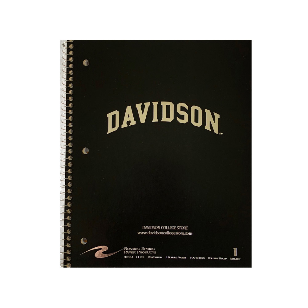 Image For Imprinted 1 Subject Notebook - Black - Davidson Arched