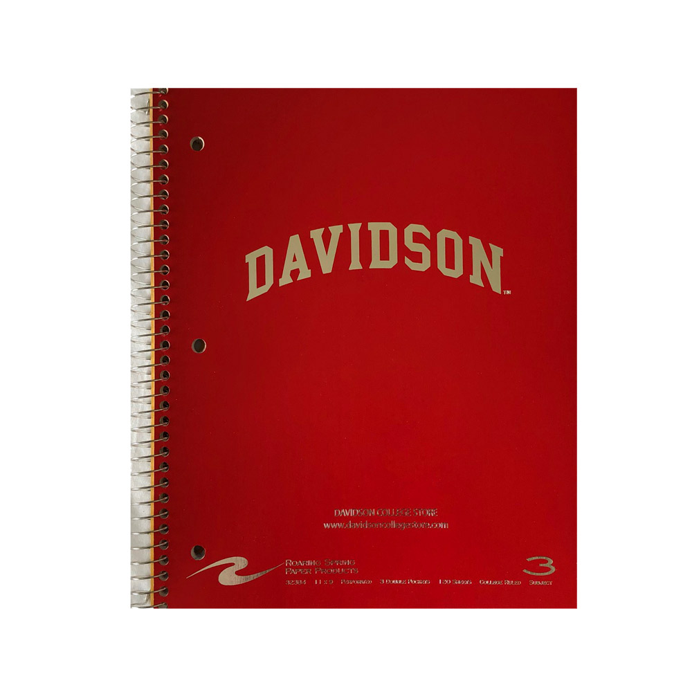 Image For Imprinted 3 Subject Notebook - Red - Davidson Arched