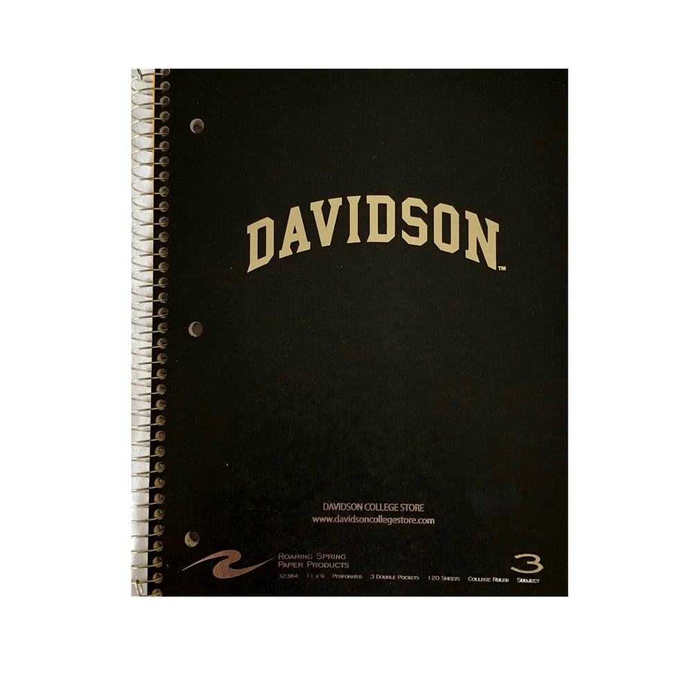 Image For Imprinted 3 Subject Notebook - Black - Davidson Arched