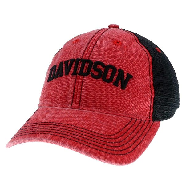 Image For Hat Red Trucker With Black Mesh Back-Davidson Arched