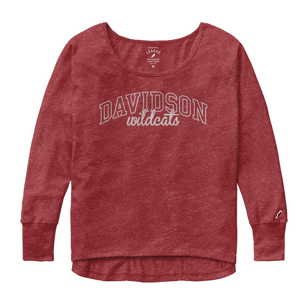 Image For Women's Oversized Red Tee-Davidson Arched Over Wildcats