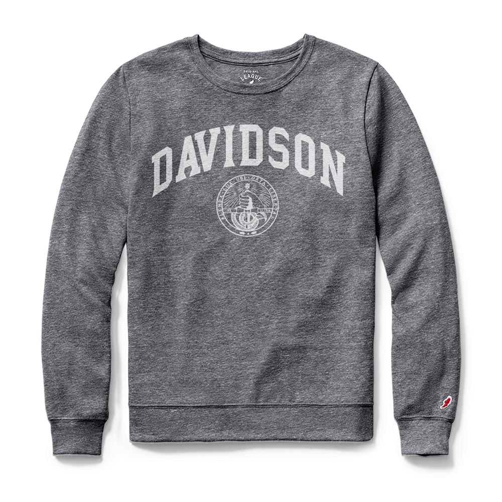 Image For Women's Long Sleeve Gray Tee-Davidson Over College Seal