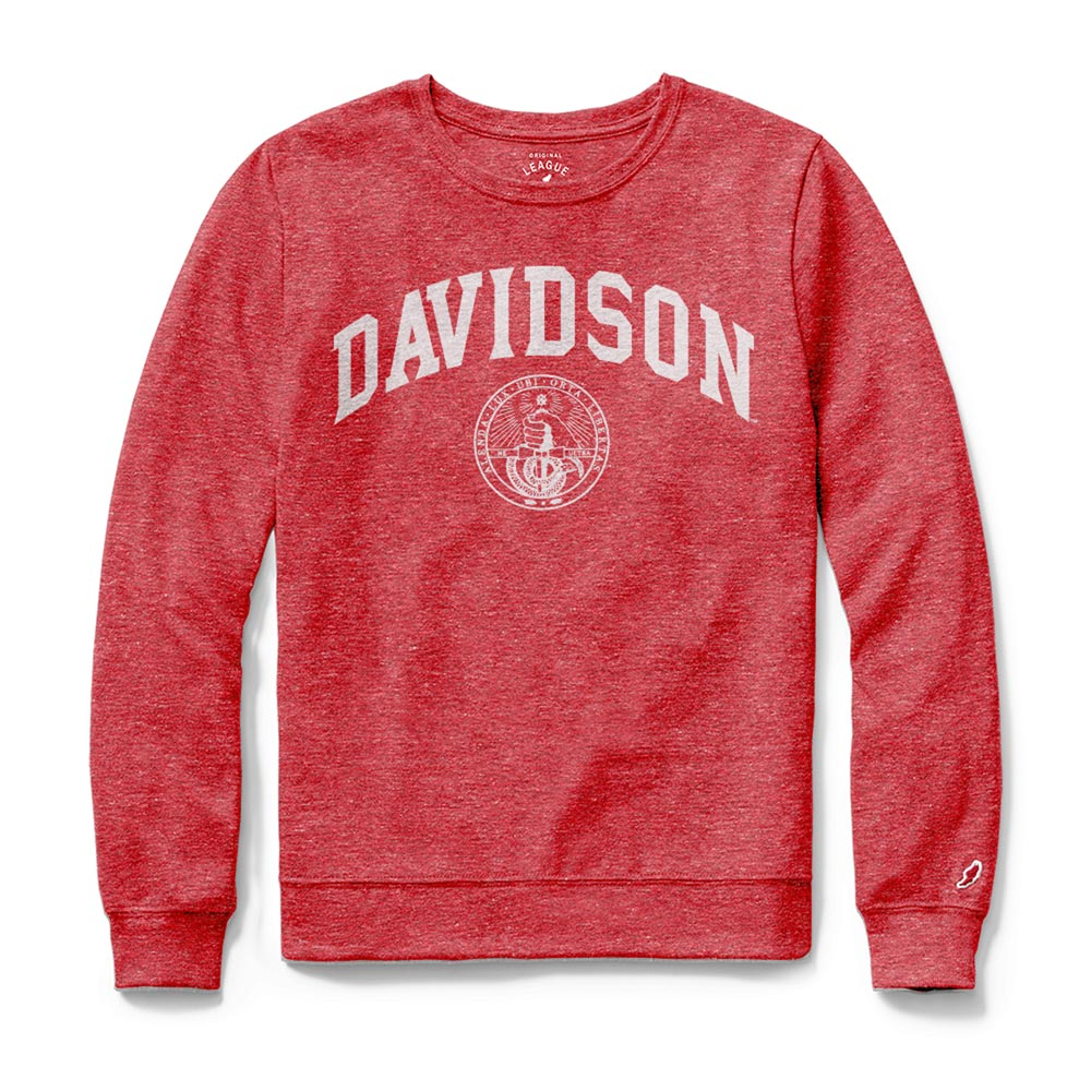 Image For Women's Long Sleeve Red Tee-Davidson Over College Seal
