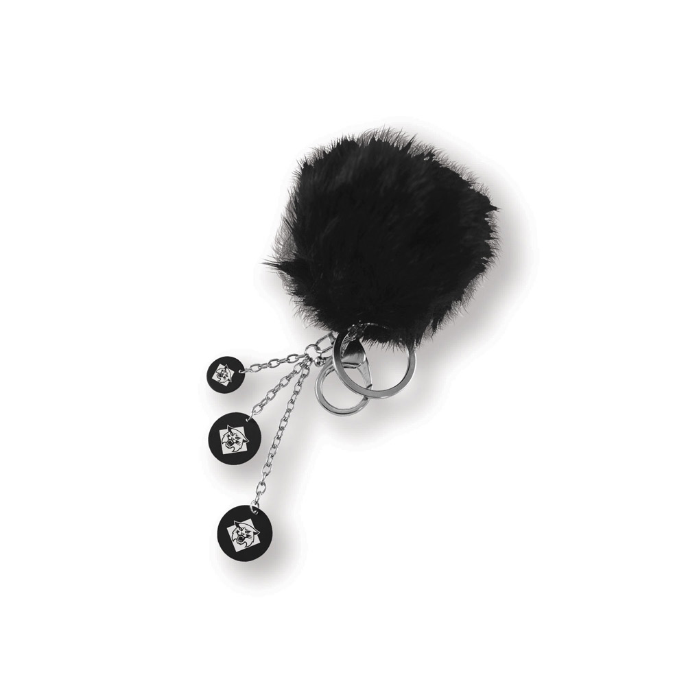 Image For Key Chain Puff Ball - Black