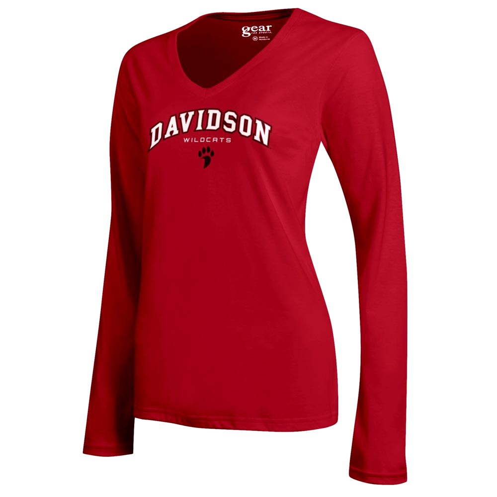 Image For Women's Long Sleeve V Neck Mia Tee - Red- Davidson Over Paw