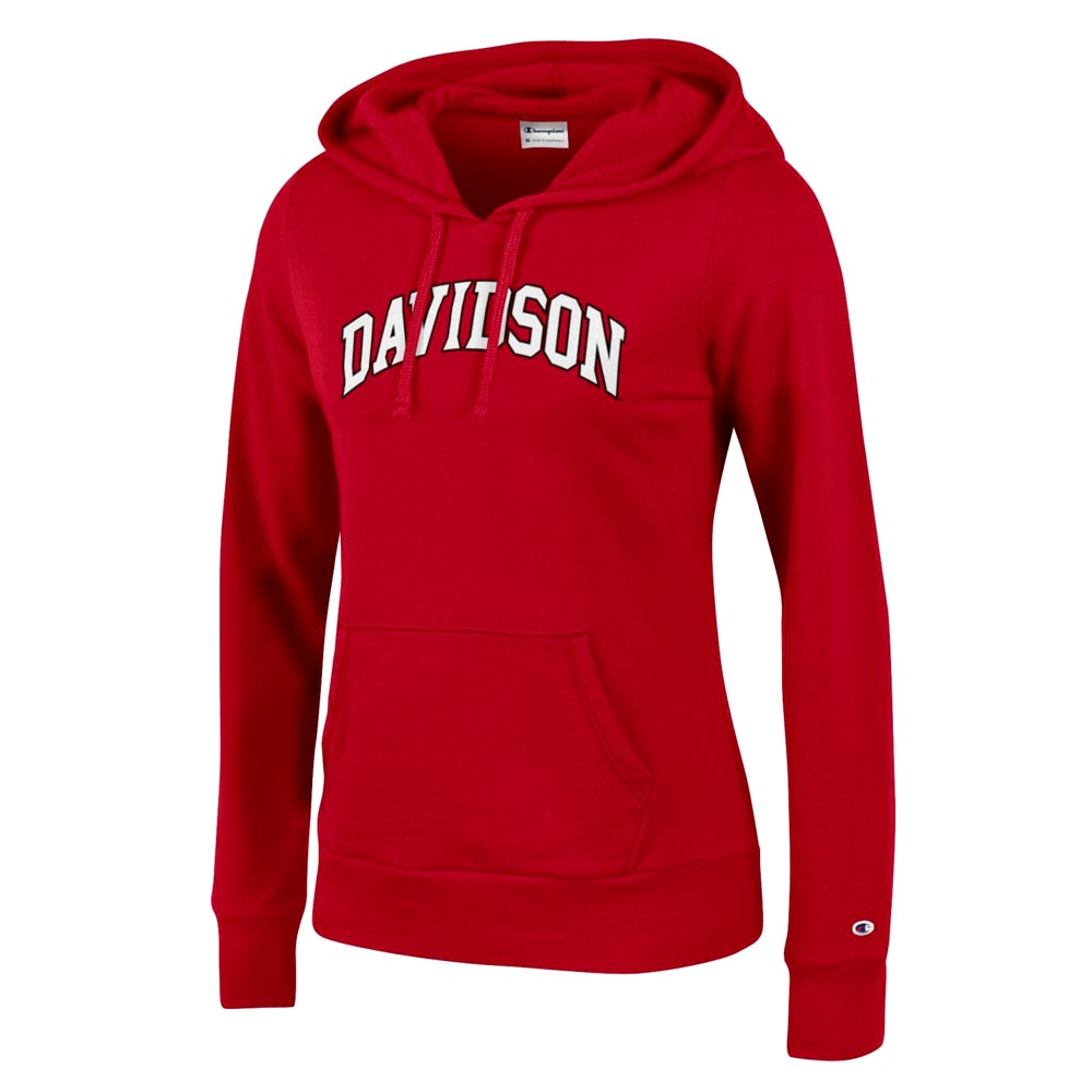 Image For Women's Red Fleece Hood - Davidson Arched