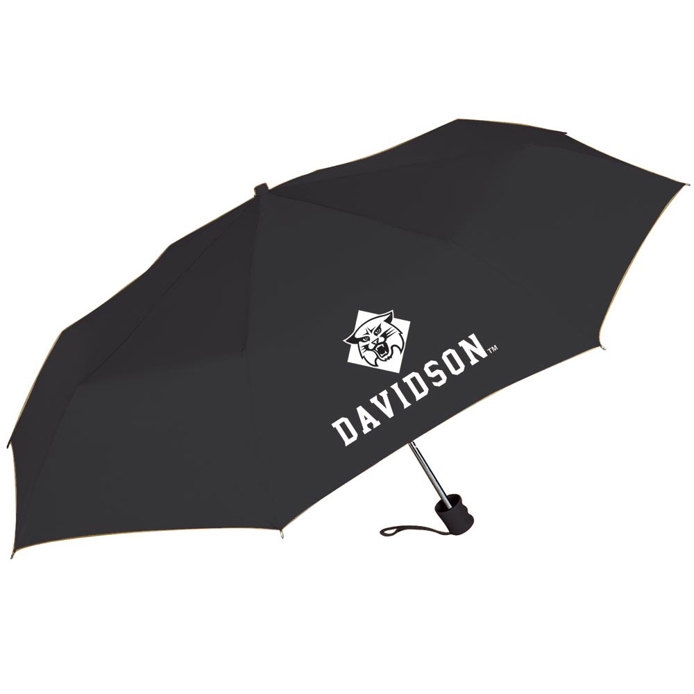 Image For Umbrella Black Super Pocket Mini -Wildcat Over Davidson Logo