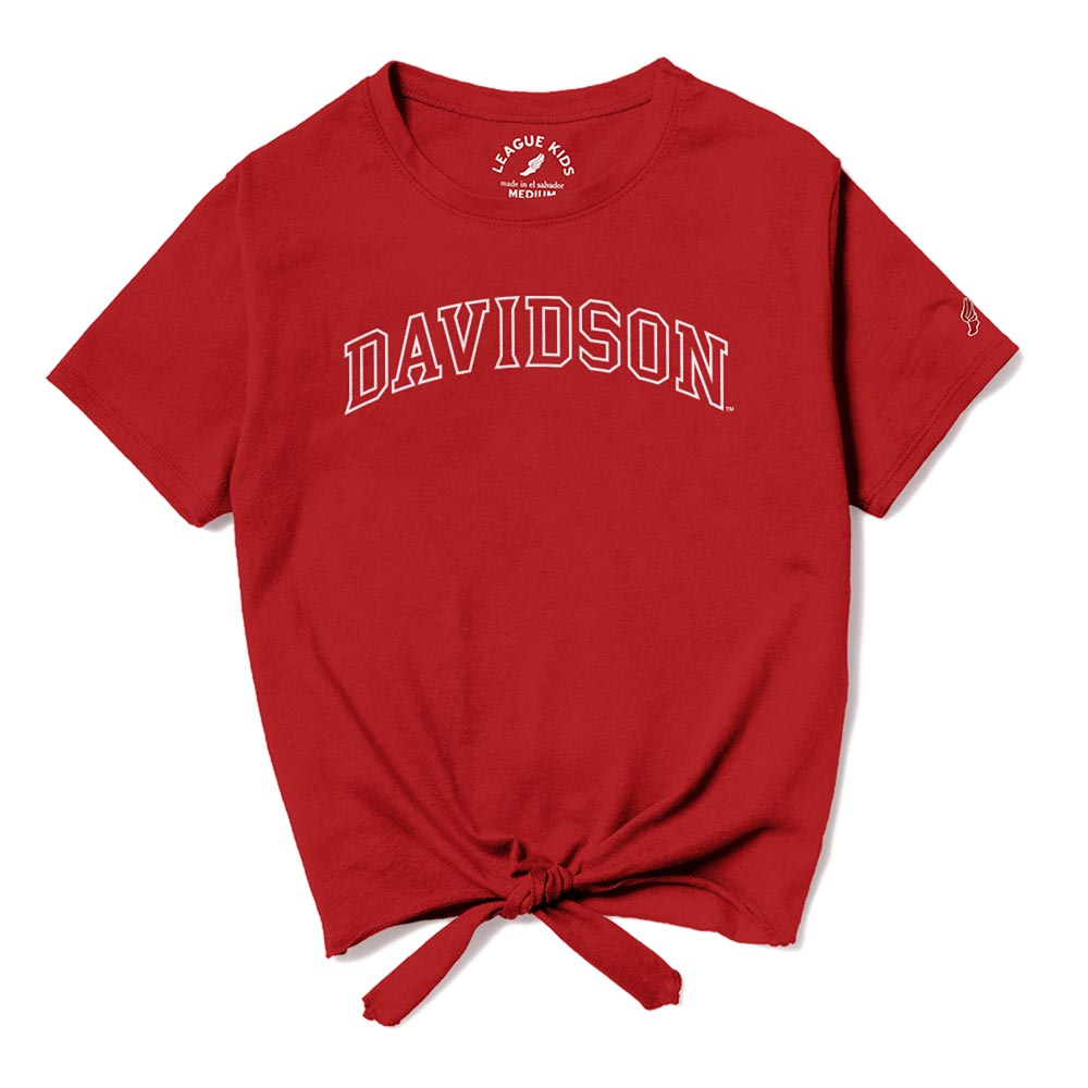 Image For Youth Girls Tie Front Tee - Red - Davidson Arched