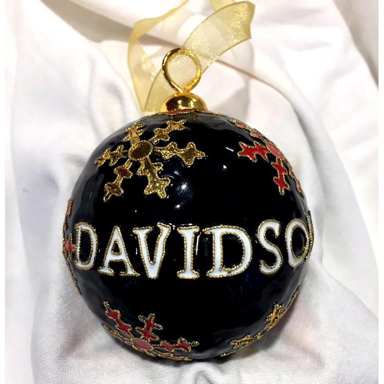 Image For Ornament - Black - Davidson With Snowflakes