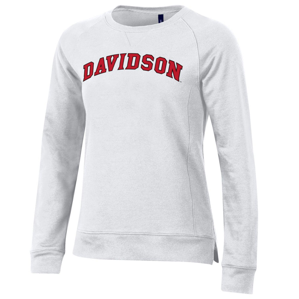 Image For Women's Fleece Crew - White - Davidson Arched