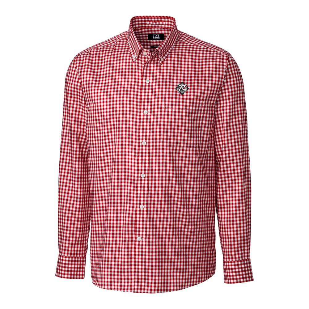 Image For Long Sleeve Gingham Shirt - Red - Wildcat