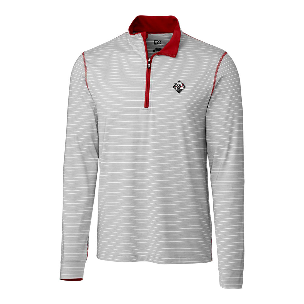 Image For Jacket 1/4 Zip - Gray Stripe - Wildcat Logo