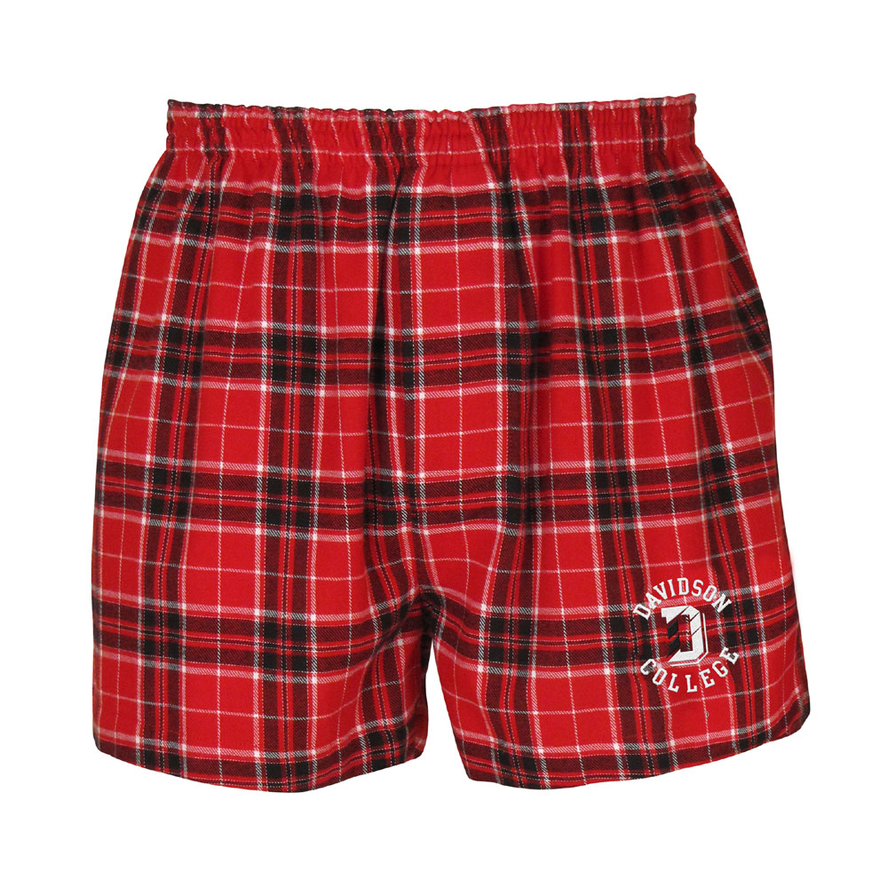 Image For Shorts Boxer Flannel - Red - Davidson Over D Over College