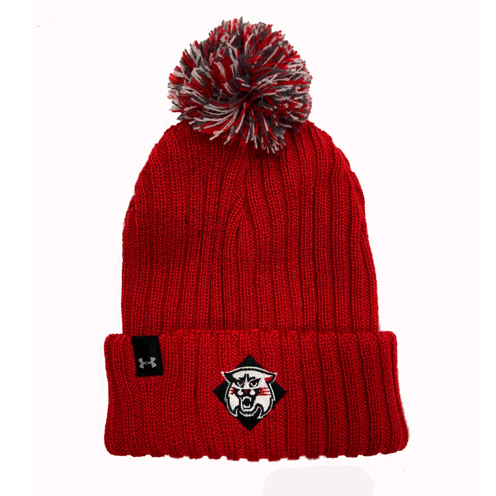Image For Youth Knit Hat With Pom - Red