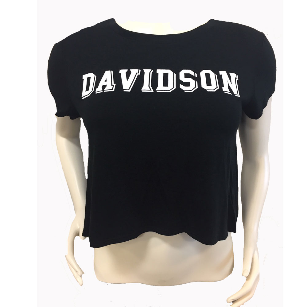 Image For Women's Crop Tee - Black - Davidson