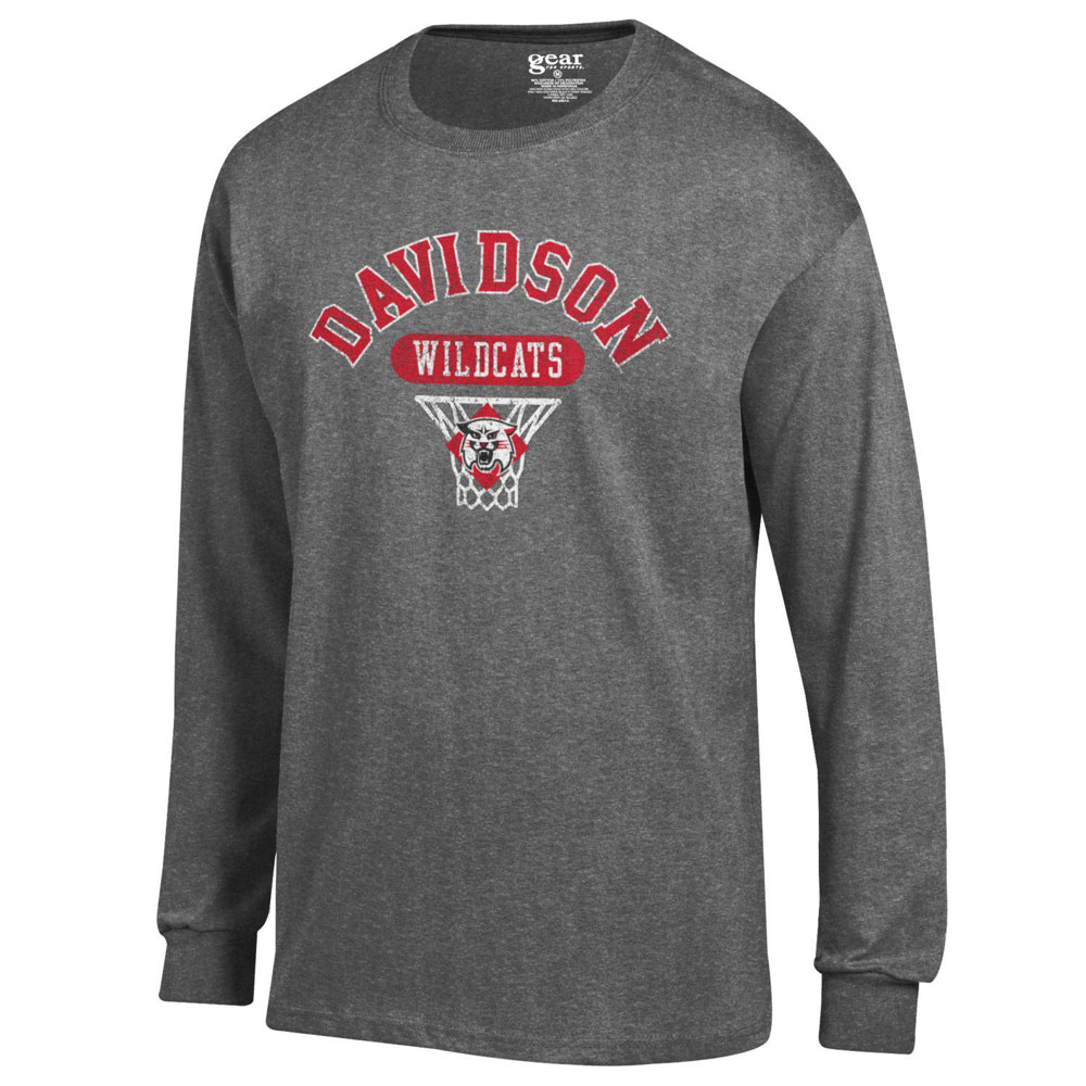 Image For T Shirt Long Sleeve Charcoal Heather - Davidson Basketball