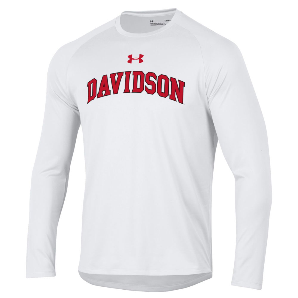 Image For Long Sleeve Tech Tee - White - Davidson Arched