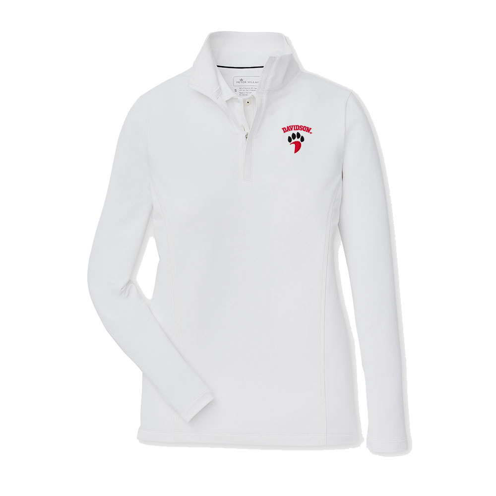 Image For Women's 1/4 Zip Stretch Terry - White - Davidson Over Paw
