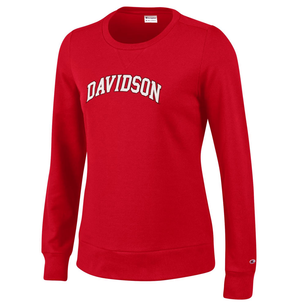 Image For Women's Fleece Crew - Red - Davidson Arched