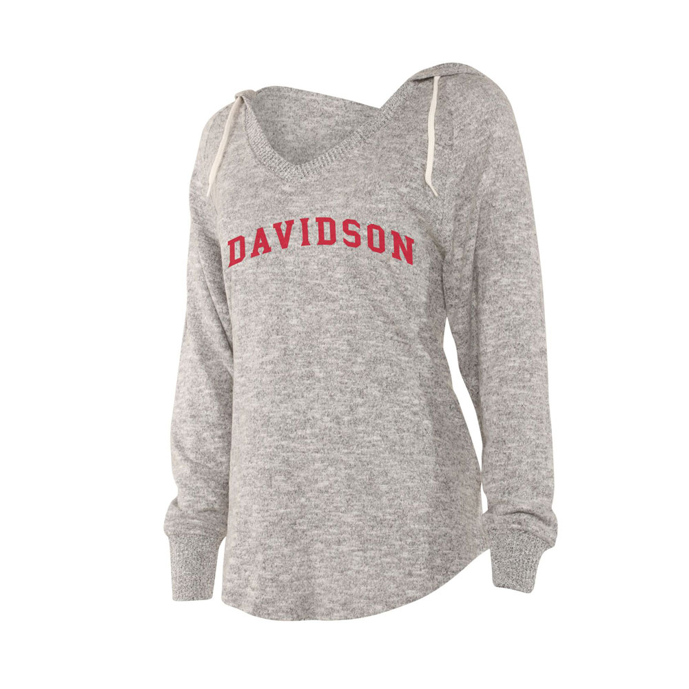 Image For Women's Cozy V Neck Hoodie - Heather Grey