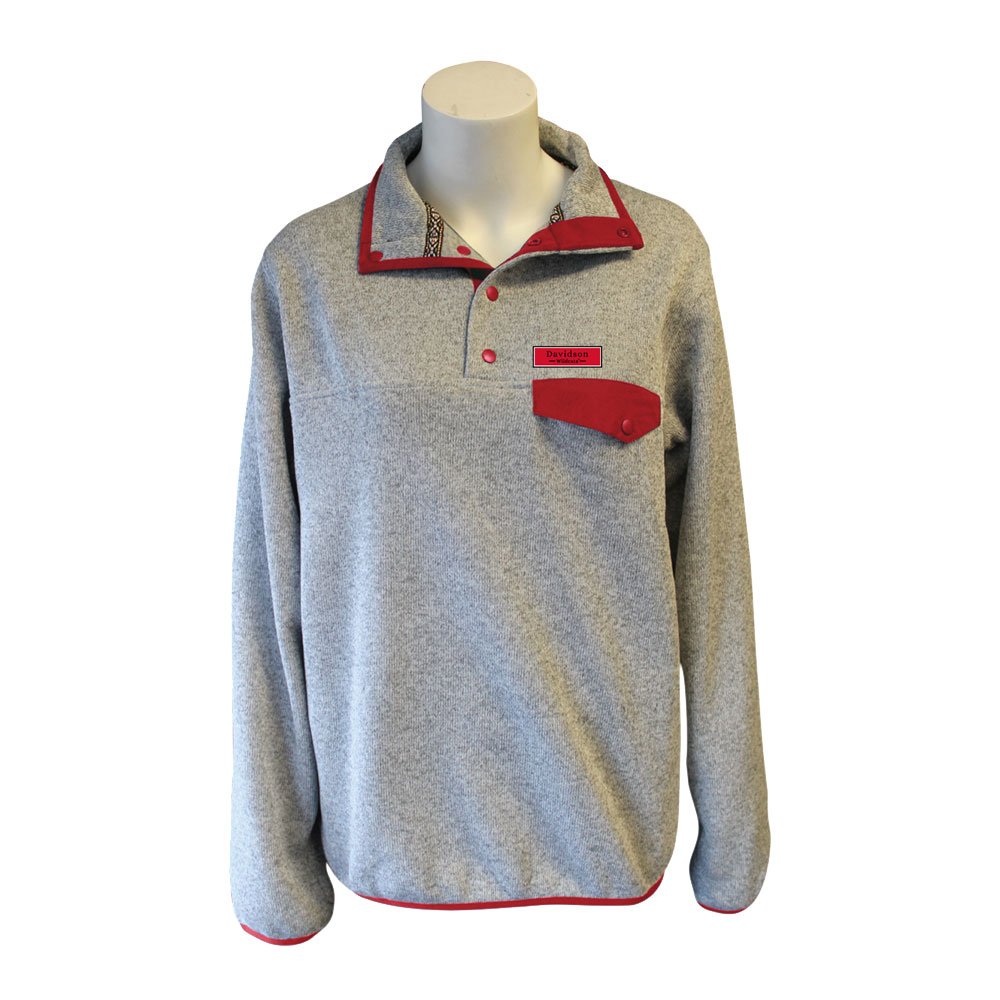 Image For Women's 1/4 snap-up Jacket - Gray with Red Trim