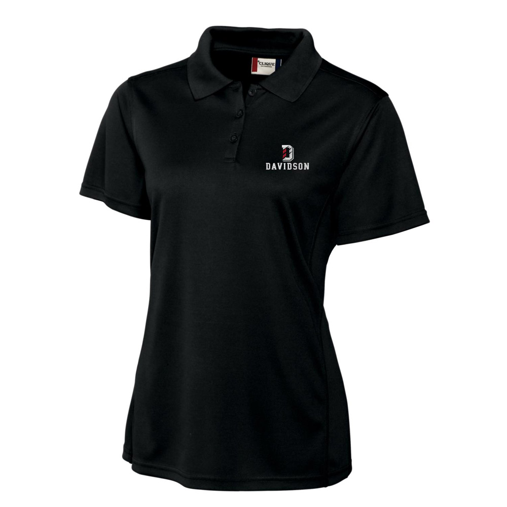 Image For WOMEN'S PIQUE POLO - BLACK - D OVER DAVIDSON
