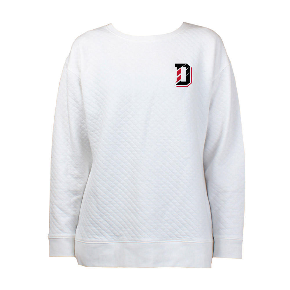 Image For WOMEN'S LONG SLEEVE QUILTED TOP - CREAM - D LOGO