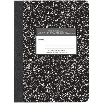 Image For College Ruled Black Marble Composition Book Quad Ruled