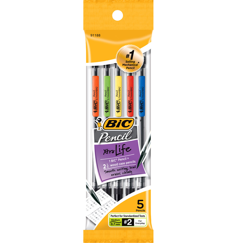 Image For BIC Xtra Life Mechanical Pencil - Black .7mm 5Pk