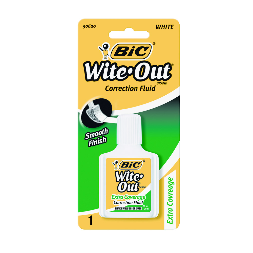 Image For BIC Wite-Out Brand Extra Coverage Correction Fluid - White